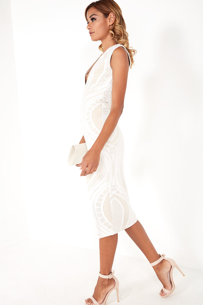 Halupa White Lace Plunge Neck Midi Dress