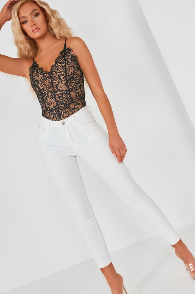 Hanna Black And Nude Lace Cami Bodysuit (36017602576)