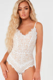 Hanna White and Nude Lace Cami Bodysuit (73732522000)