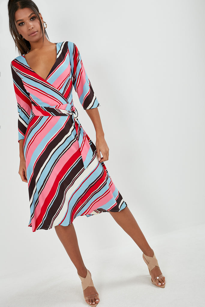 Hara Multi Stripe Midi Dress