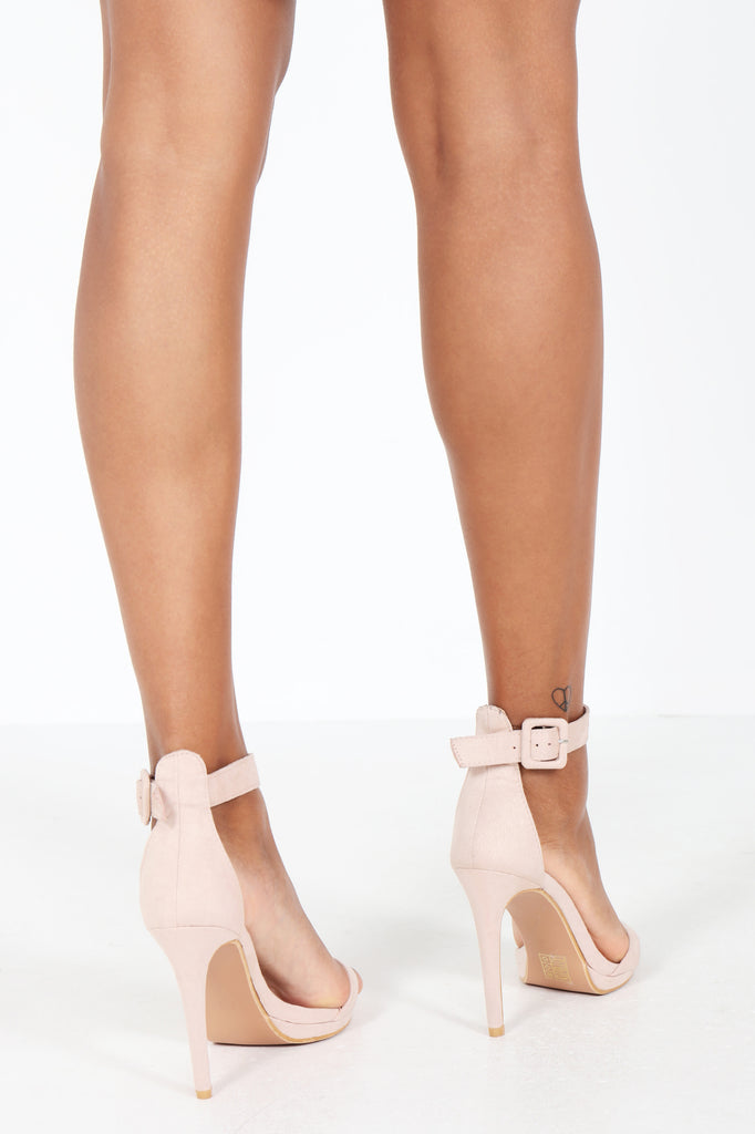 Harlee Beige Suedette Barely There Sandal