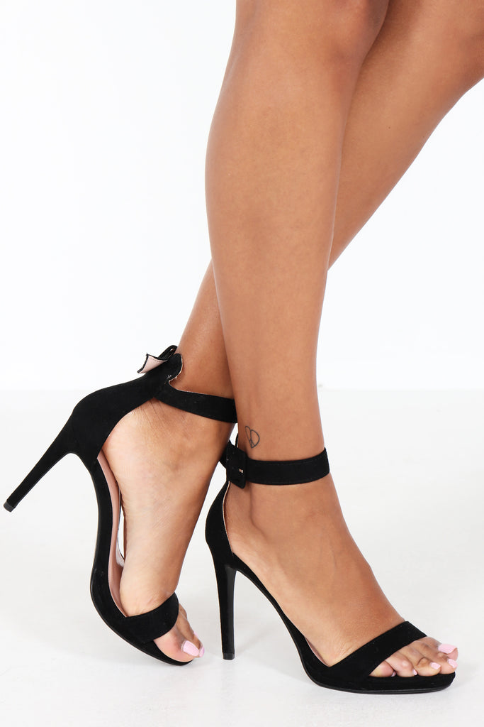 Harlee Black Suedette Barely There Sandal (1309573316716)