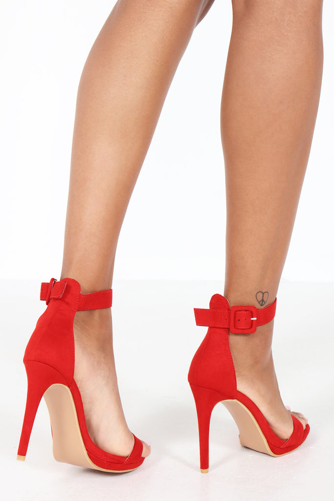 Harlee Red Suedette Barely There Sandal (1309571907692)