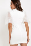 Harper White Puff Sleeve Bodycon Dress