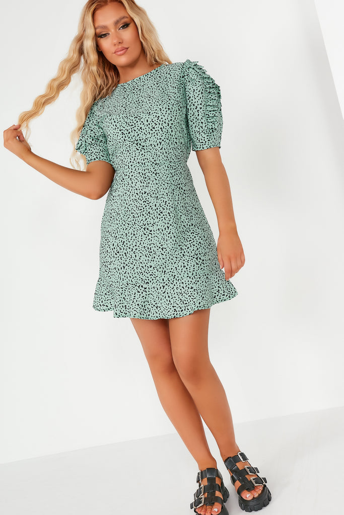 Harriet Mint Leopard Pleat Sleeve Mini Dress