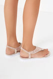 Harry Pink Metallic Diamante Flat Sandals