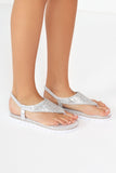 Harry Silver Metallic Diamante Flat Sandals