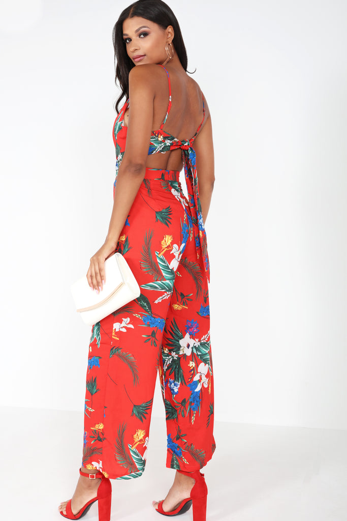 Hattie Red Floral Tie Back Jumpsuit