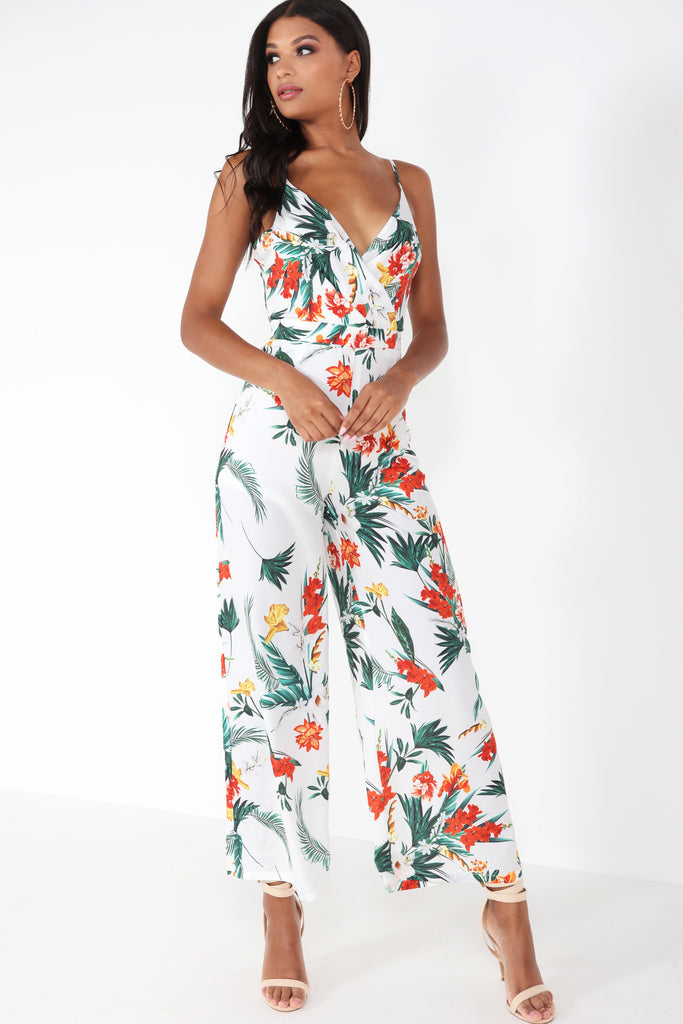 Hattie White Floral Tie Back Jumpsuit
