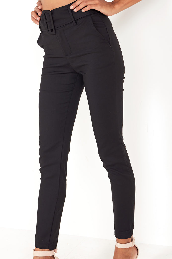 Hazel Black Belt Detail Trousers