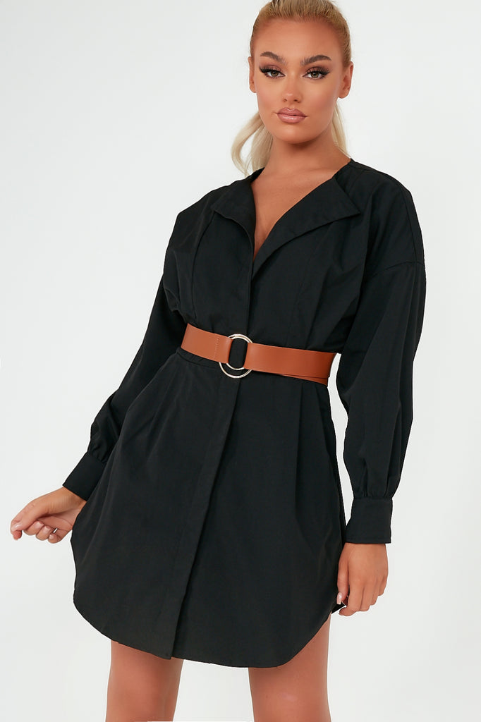 Hazel Black Collarless Belted Shirt Dress