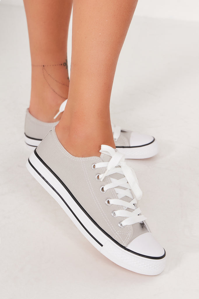 Hazel Grey Lace Up Canvas Trainers