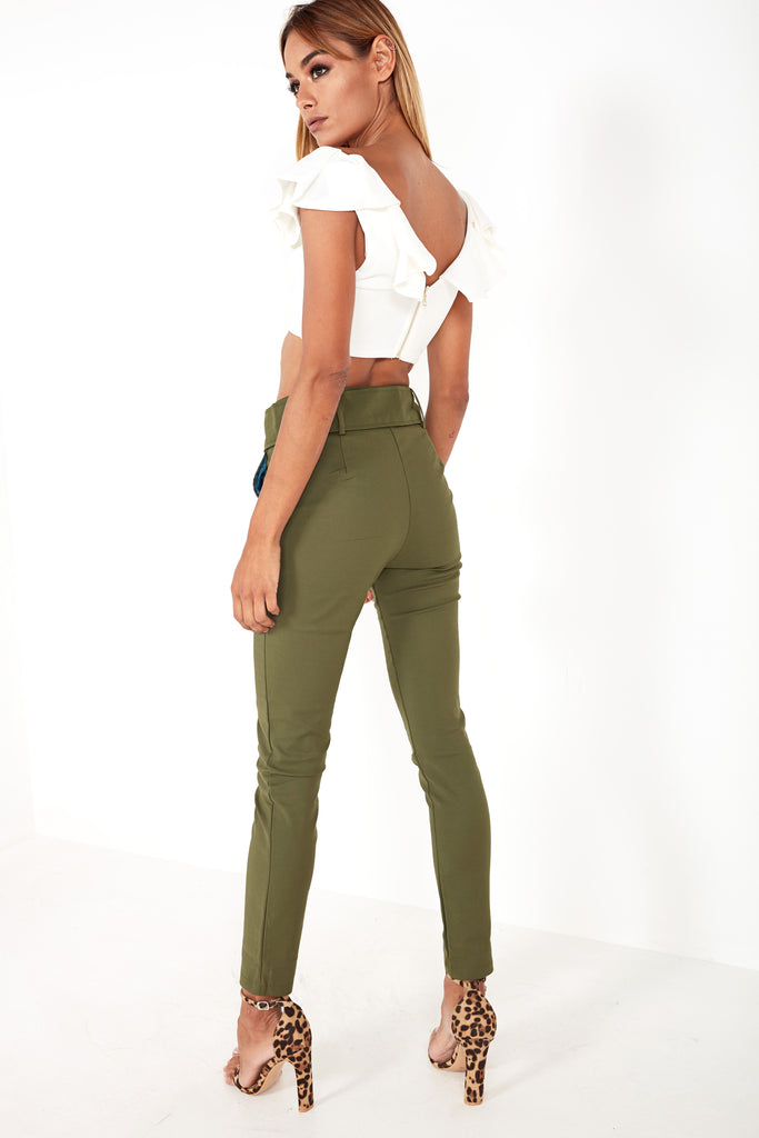 Hazel Khaki Belt Detail Trousers