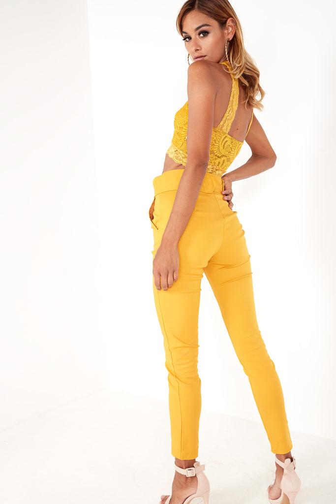 Hazel Mustard Belt Detail Trousers