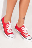 Hazel Red Lace Up Canvas Trainers