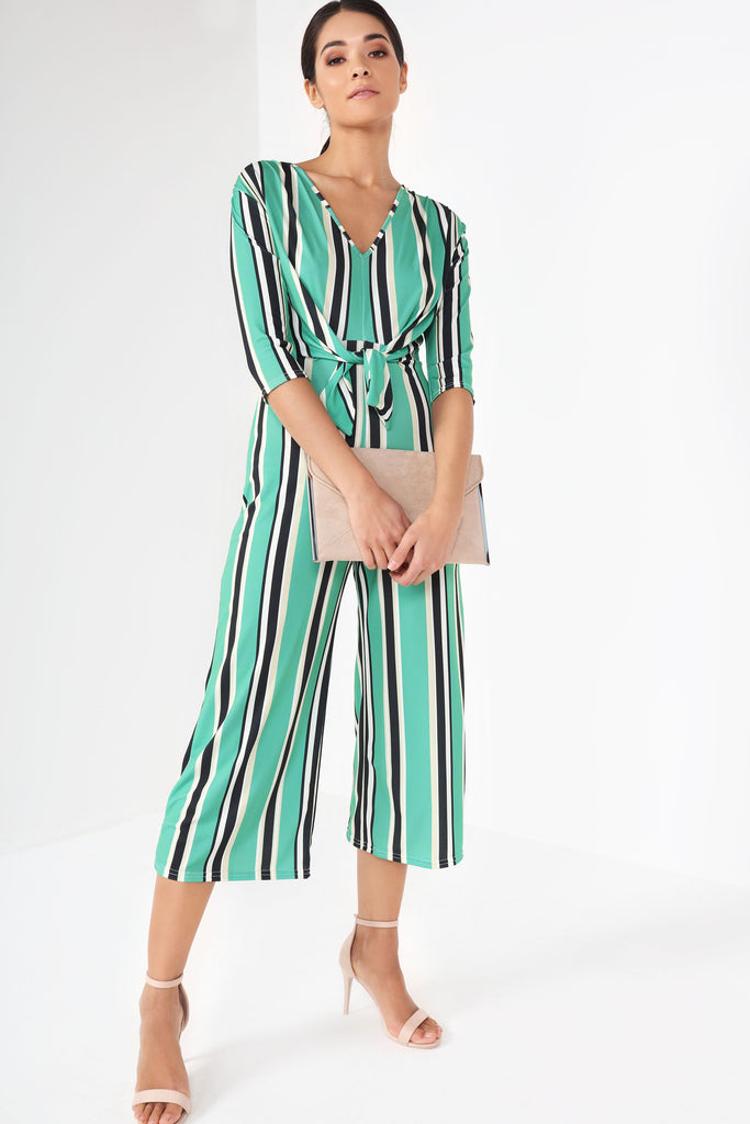 Heather Green Slinky Striped Jumpsuit