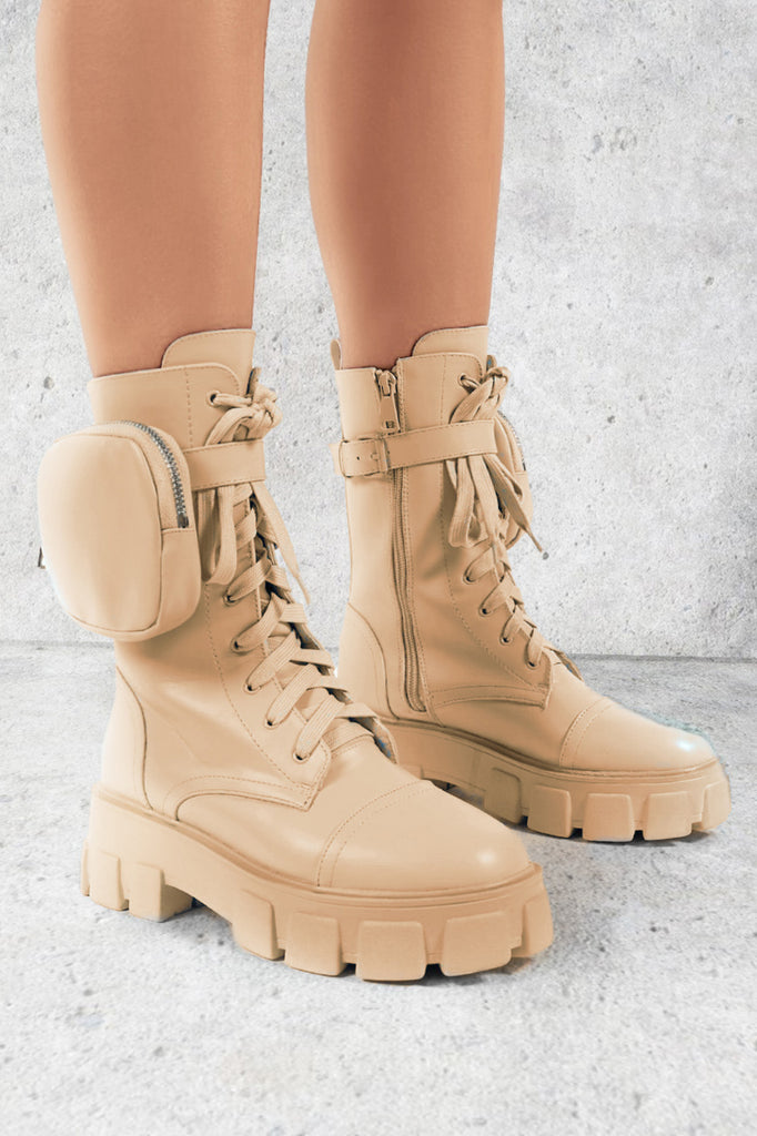 Heddy Cream Cleated Pocket Detail Boots