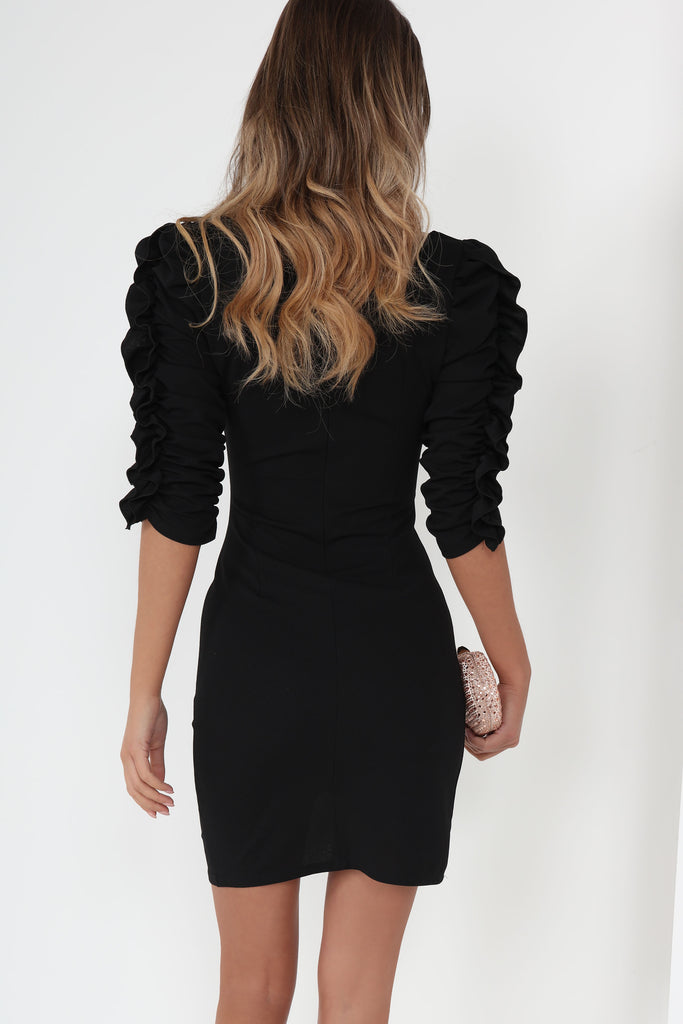 Heidi Black Ruched Sleeve Dress