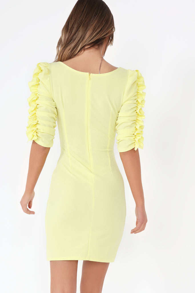 Heidi Yellow Ruched Sleeve Dress