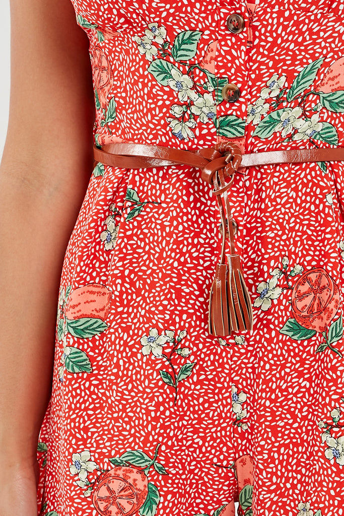 Helen Red Floral and Fruit Print Playsuit (1887379193922)