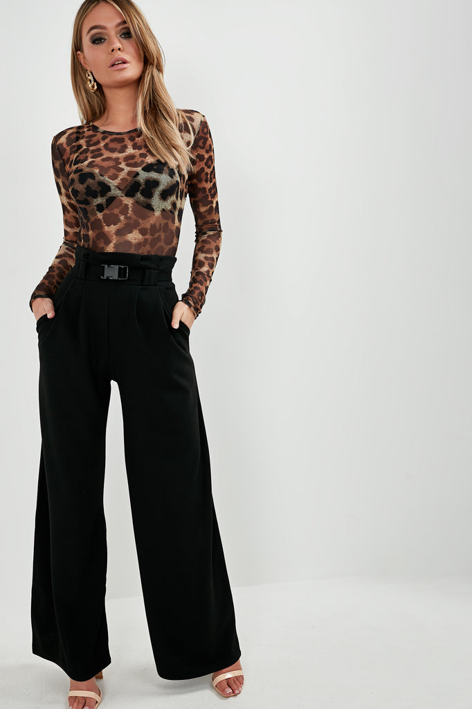 Helga Brown Leopard Mesh Bodysuit