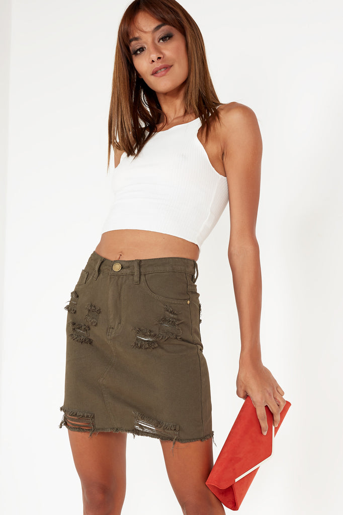 Helly Khaki Distressed Denim Skirt