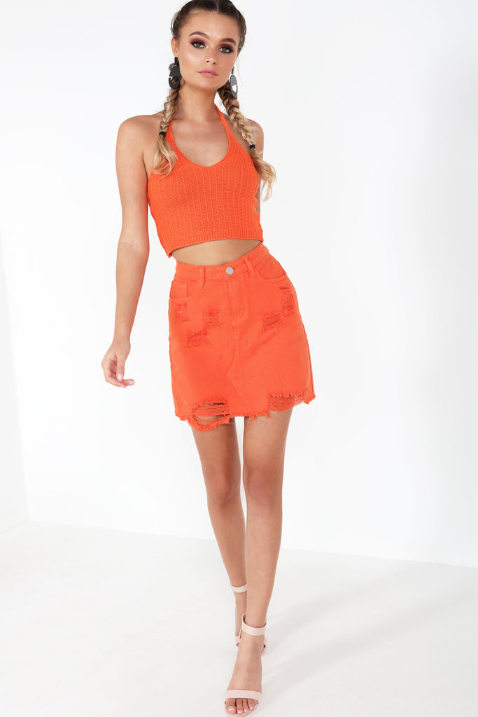 Helly Orange Distressed Denim Skirt