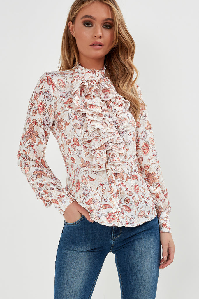 Helma Cream Floral Ruffle Front Blouse