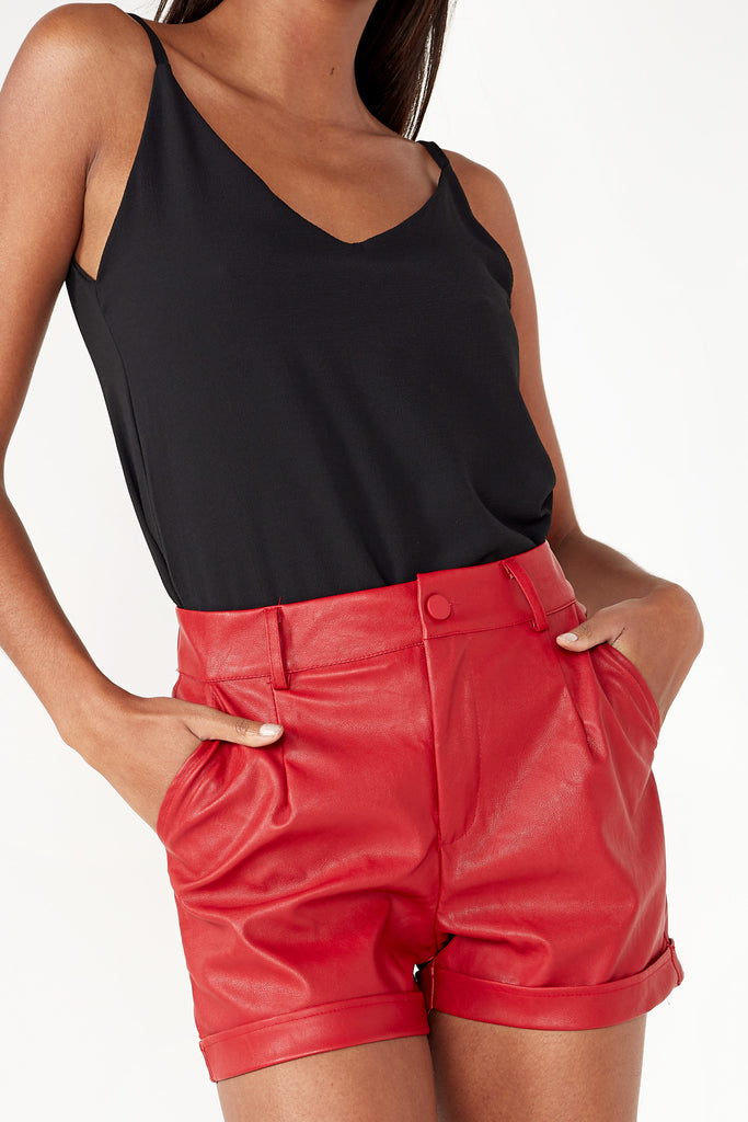 Heloise Red Leatherette Shorts