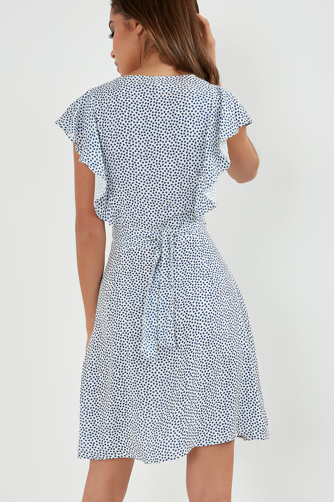 Henrietta Blue Heart Button Front Dress