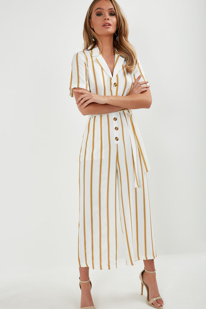 Hermoine Mustard Striped Jumpsuit