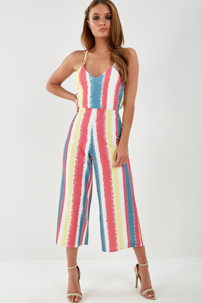 Hester Pink Striped Cut Out Back Jumpsuit