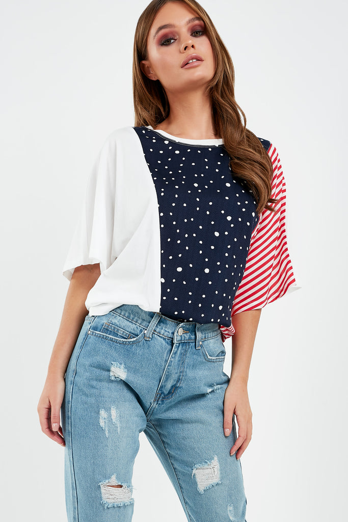 Hettie Navy Spots and Stripes Print T-Shirt