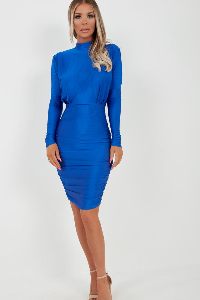 Hilda Blue Highneck Long Sleeve Ruched Dress