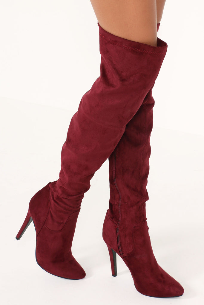Hilda Burgundy Stiletto Over Knee Boots