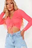 Hilda Neon Pink Ribbed Ruched Crop Top