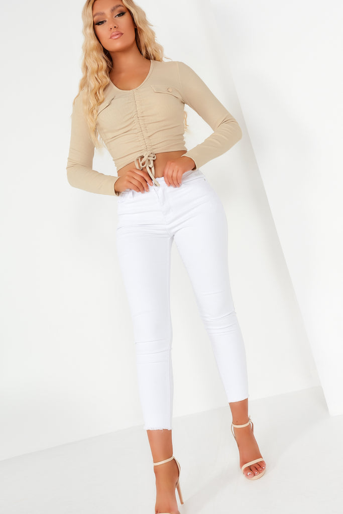 Hilda Stone Ribbed Ruched Crop Top