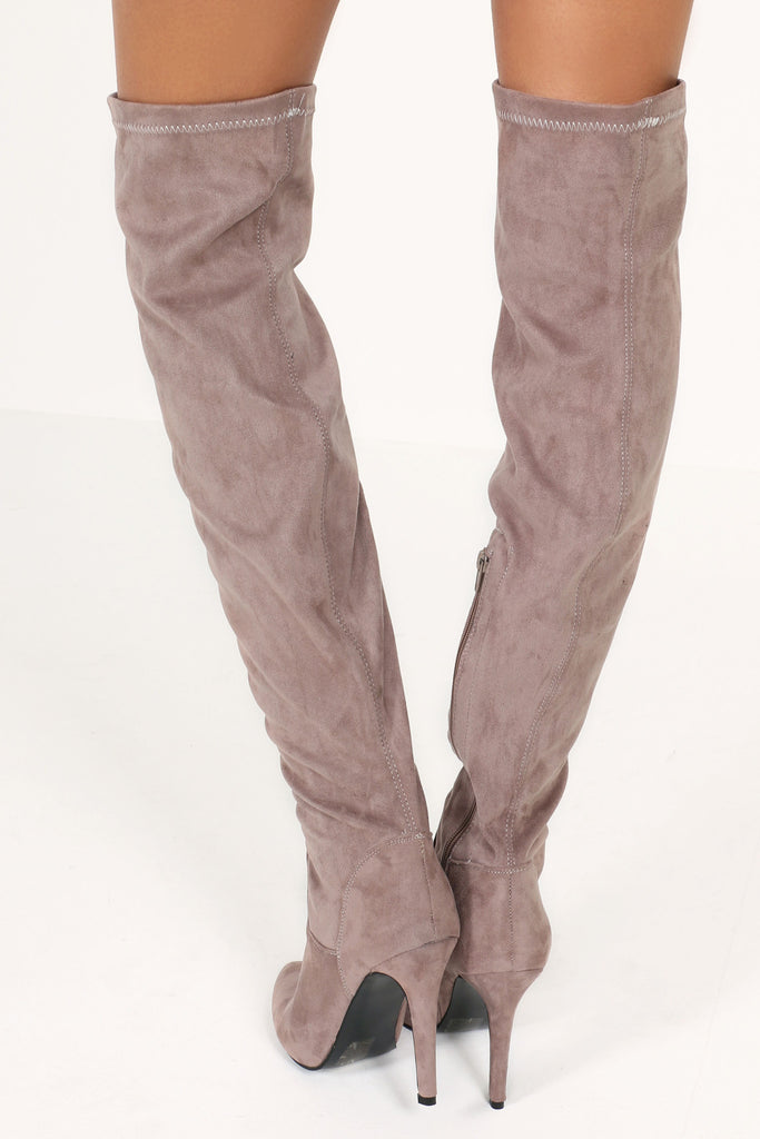 Hilda Taupe Stiletto Over Knee Boots (6328529285)
