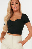 Hollie Black Sweetheart Neck Crop Top