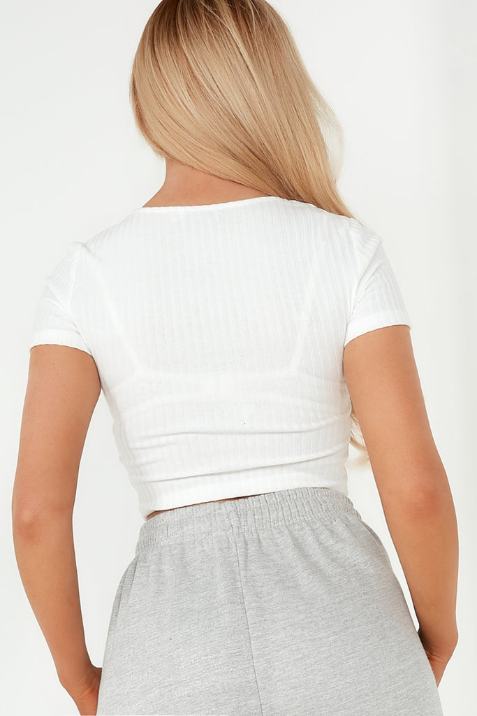 Hollie White Sweetheart Neck Crop Top