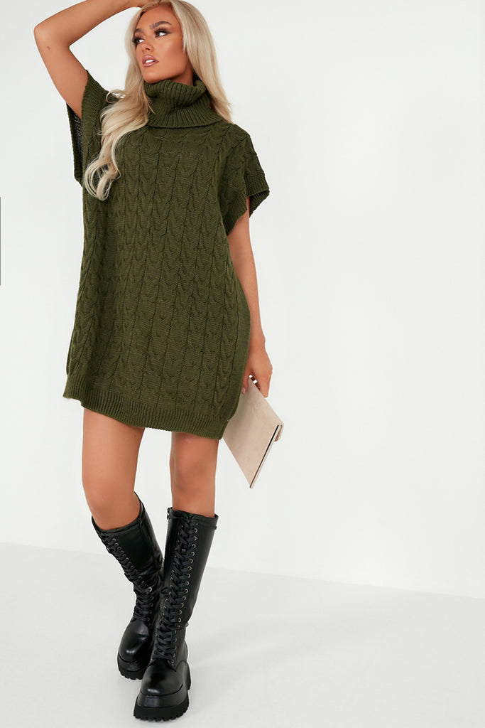 Ide Khaki Knit Sleeveless Roll Neck Jumper Dress