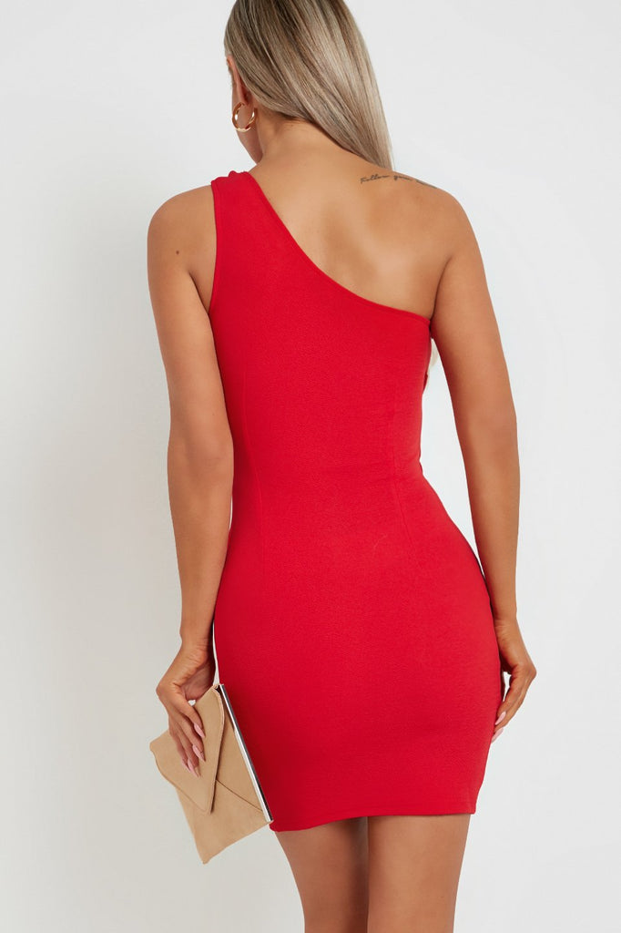 Idetta Red One Shoulder Bodycon Dress