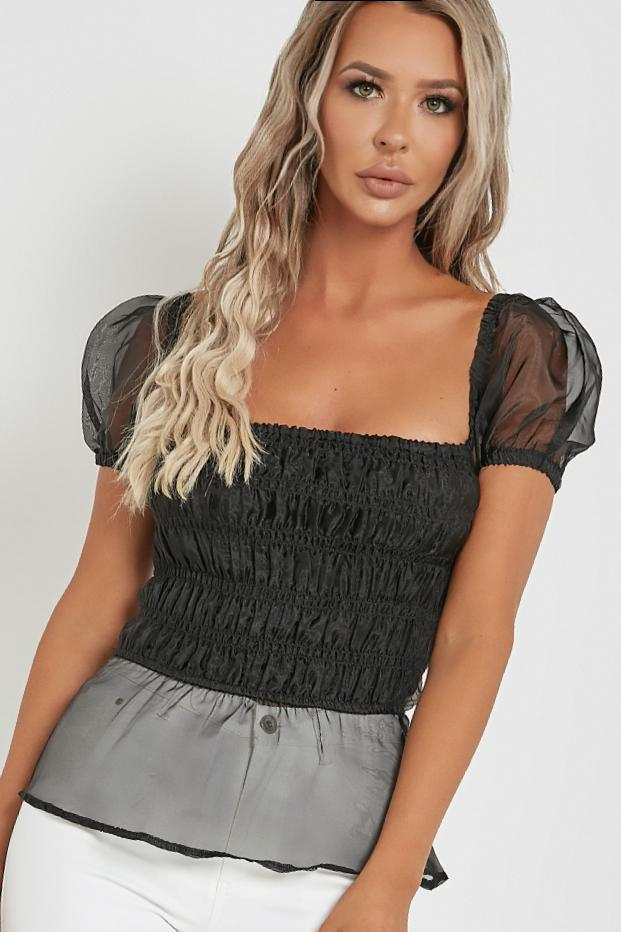 Idie Black Organza Puff Sleeve Top