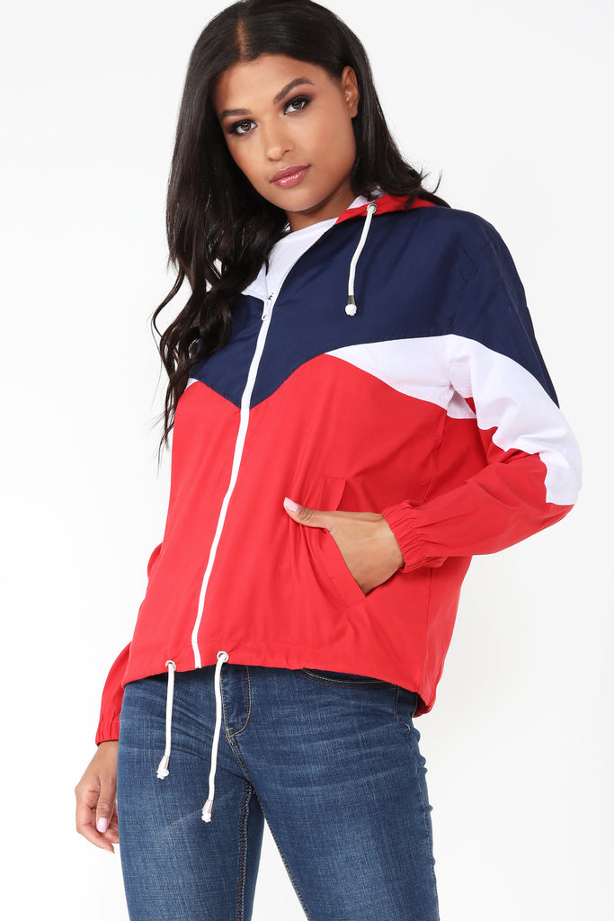 Idra Red Contrast Colour Windbreaker