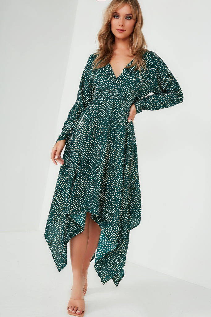 Ileen Green Handkerchief Spotted Midi Dress