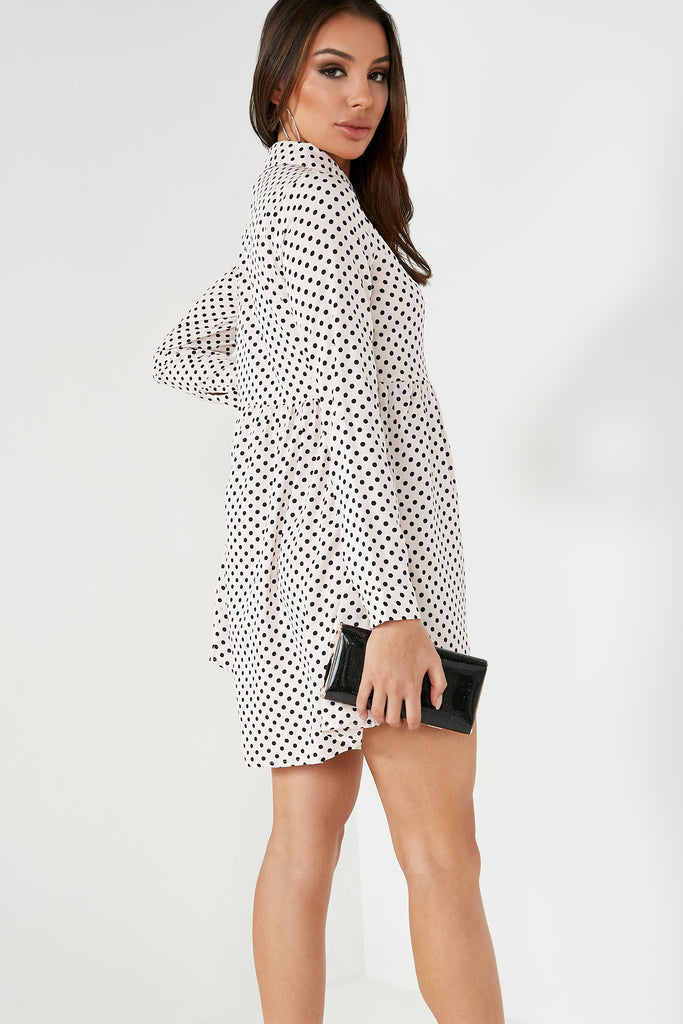 Ileen Pink Polka Dot Shirt Dress
