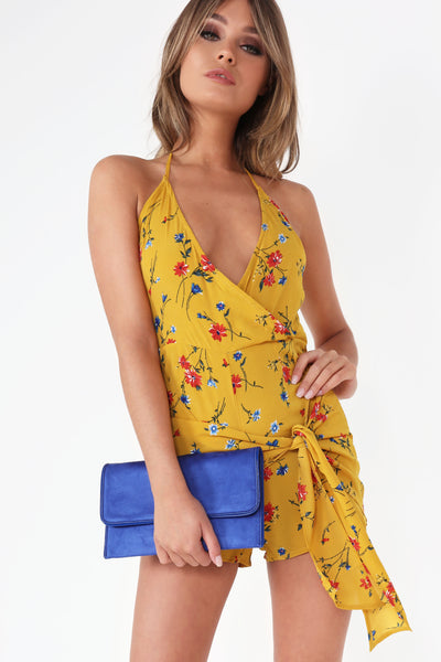8f230c85ded Illie Mustard Floral Tie Front Playsuit
