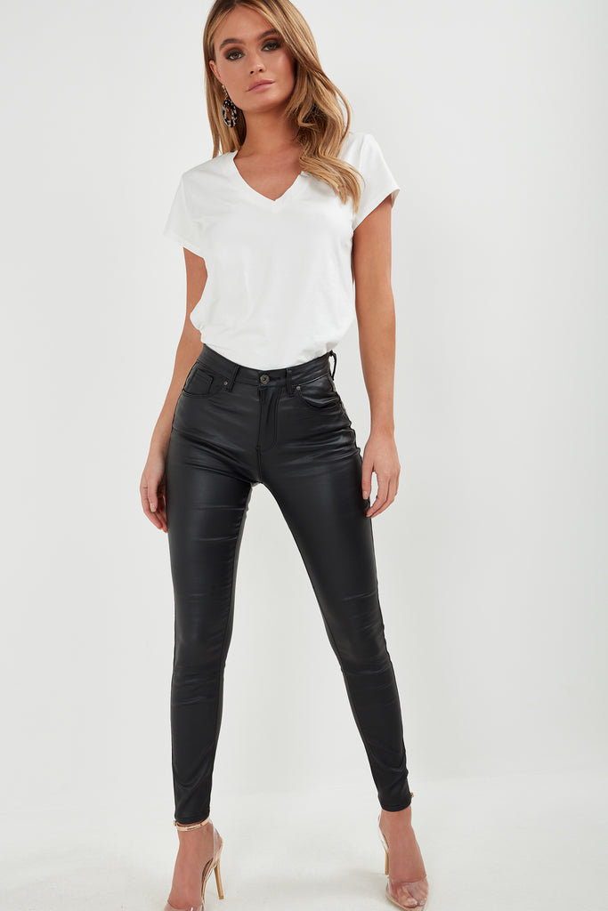 Ilma Black Wax high Waist Trousers