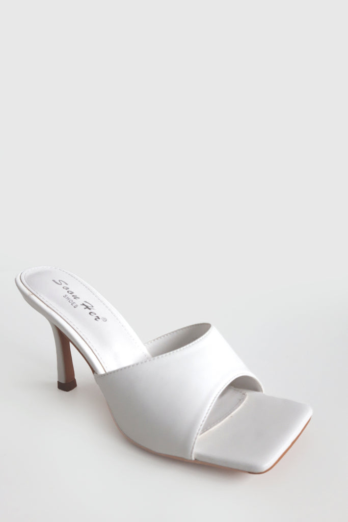 Alena White Square Toe Mules