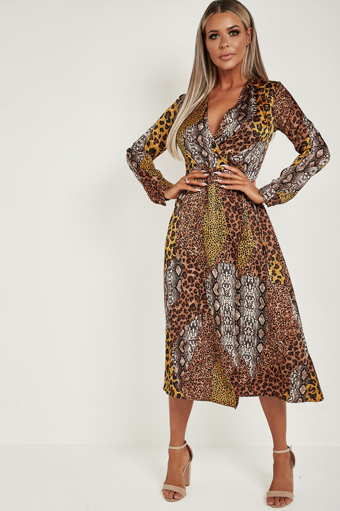 Imani Brown Animal Print Satin Wrap Dress